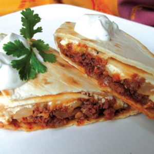 Cheesy Chorizo Skillet Burritos with Cilantro Cream