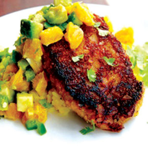 Plantain Crusted Pork Chops with Yellow Rice and Avocado Orange Salsa