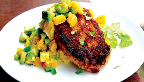 Plantain-Crusted-Pork-Chops-with-Yellow-Rice-and-Avocado-Orange-Salsa_610x350