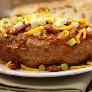 chili-stuffed potatoes