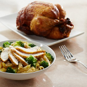 Broccoli, Garlic, and Lemon Penne With Rotisserie Chicken